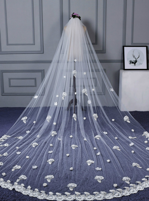 In Stock:Ship in 48 Hours Extra Long Trailing White Tulle Flower Wedding Veils