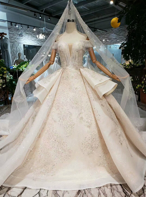Luxury Champagne Ball Gown Tulle Sequins Off the Shoulder Wedding Dress With Long Train