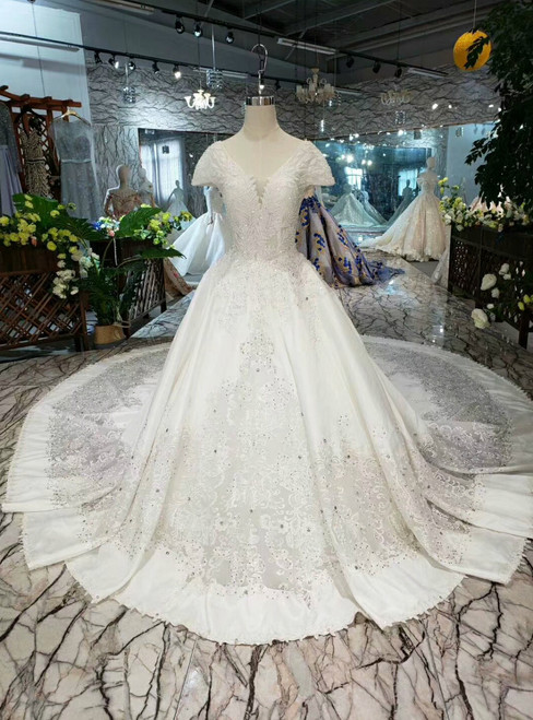 Light Champagne Ball Gown Satin Lace Cap Sleeve With Beading Wedding Dress