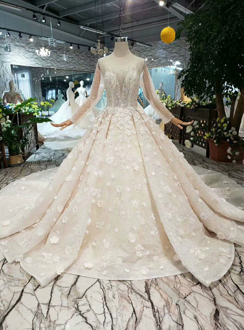 Champagne Ball Gown Tulle Sequins Long Sleeve Flower Wedding Dress