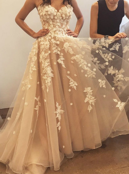 A-Line Champagne Tulle Sweetheart Appliques Princess Wedding Dresses