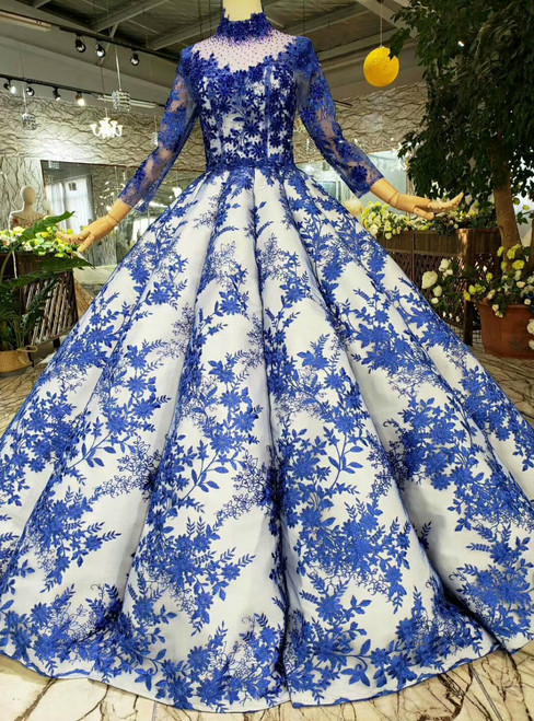 Navy Blue Lace Appliques High Neck Long Sleeve Wedding Dress With Beading