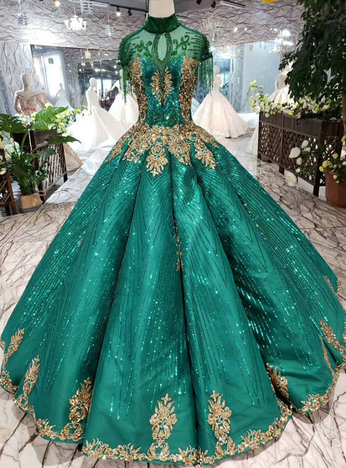 Green Ball Gown Sequins High Neck Cap Sleeve Wedding Dress With Beading