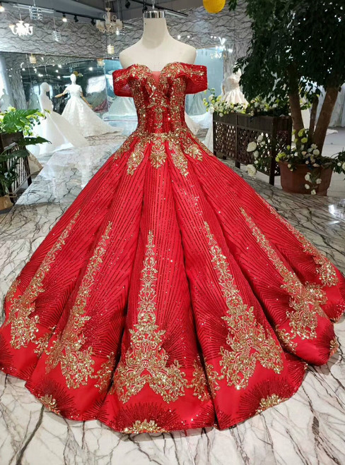 Red Ball Gown Sequins Off the Shoulder Long Wedding Dress