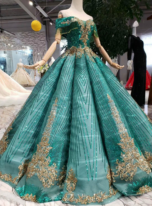 Green Ball Gown Sequins Off the Shoulder Wedding Dress With Beading