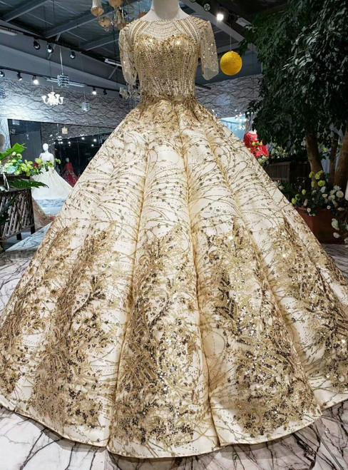 Champagne Gold Sequins Short Sleeve FLoor Length Wedding Dress