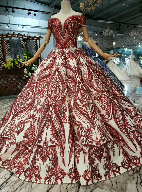 Red Ball Gown Sequins Appliques Off the Shoulder Wedding Dress