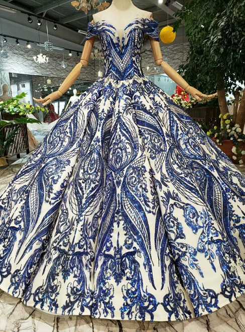 Royal Blue Ball Gown Sequins Off the Shoulder Long Wedding Dress