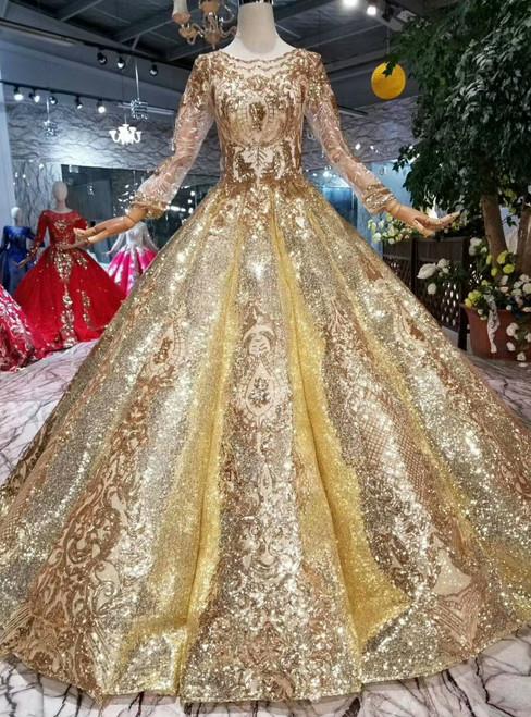 Gold Ball Gown Sequins Long Sleeve Floor Length Wedding Dress