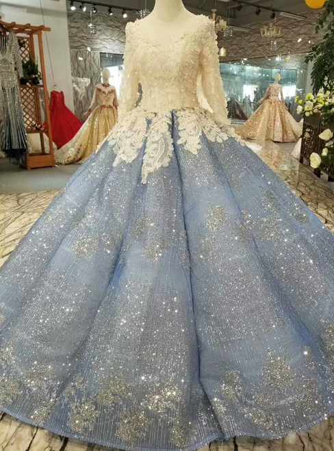 Blue Ball Gown Sequins Long Sleeve Appliques Long Wedding Dress With Beading