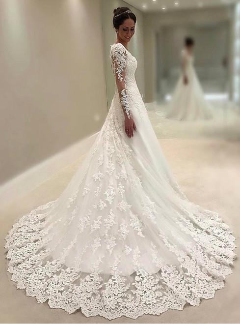 Cheap wedding dresses 2017 long sleeves wedding gowns princess wedding dress