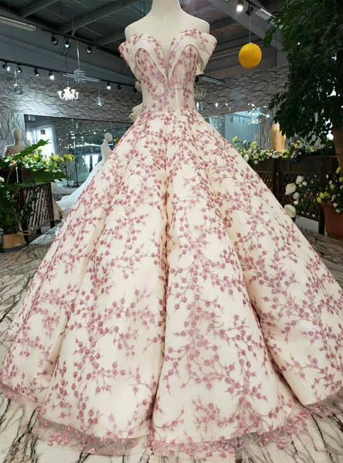 Champagne Sequins Pink Sequins Appliques Off the Shoulder Wedding Dress