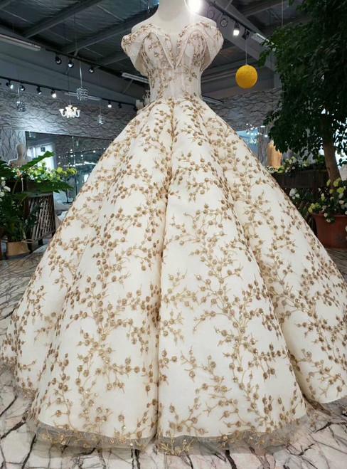Champagne Sequins Gold Sequins Appliques Off the Shoulder Wedding Dress