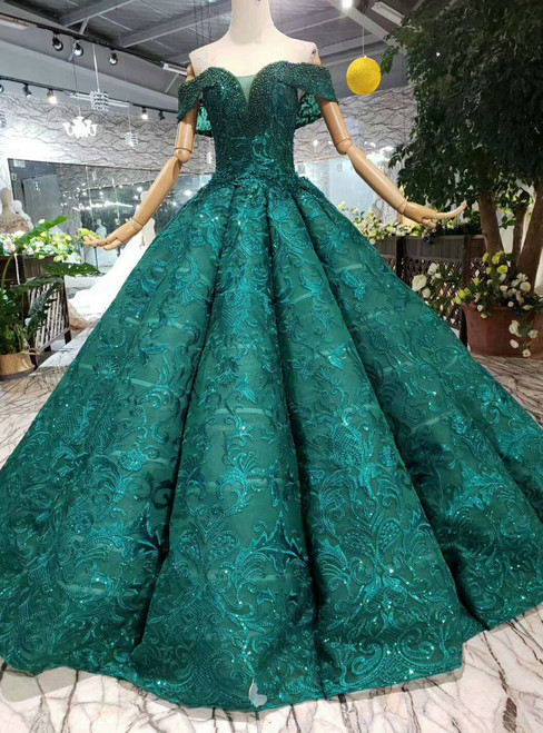 Green Ball Gown Lace Off the Shoulder Wedding Dress With Pearls