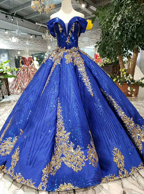 Royal Blue Ball Gown Sequins Gold Sequins Off the Shoulder Wedding Dress