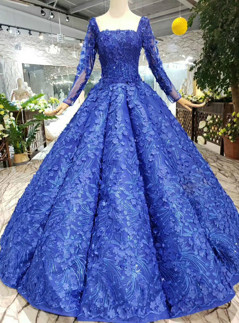 Royal Blue Ball Gown Square Long Sleeve Appliques Wedding Dress