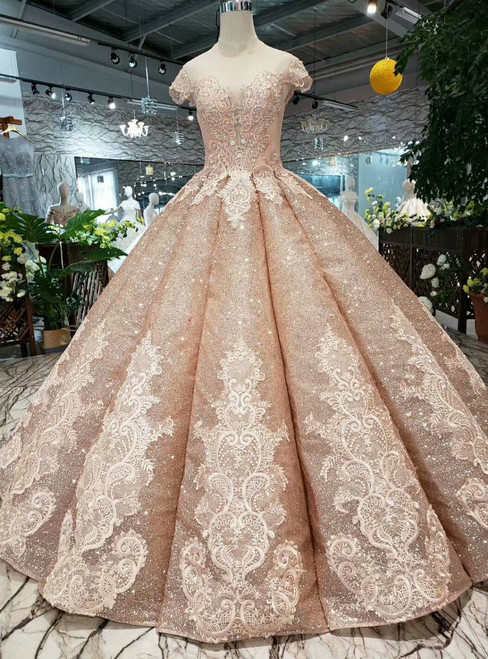 Gold ball Gown Sequins Cap Sleeve Backless Appliques Wedding Dress