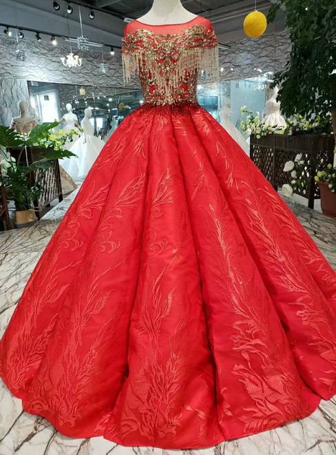 Red Ball Gown Lace Cap Sleeve Backless Wedding Dress With Beading
