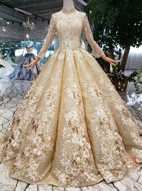 Gold Ball Gown Sequins High Neck Long Sleeve Appliques Beading Wedding Dress