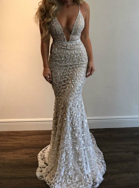 Sexy Mermaid V-Neck Sequins Sleeveless Long Wedding Dresses