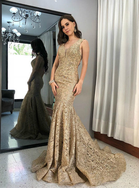 Gold Mermaid Lace V-neck Backless Long Prom Dress