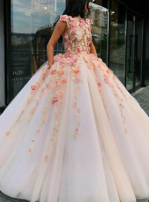 Pink Ball Gown Tulle Flower Applique Puffy Quinceanera Dress