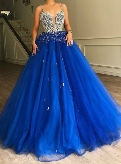 Blue Ball Gown Tulle Spaghetti Straps Quinceanera Dress With Beading
