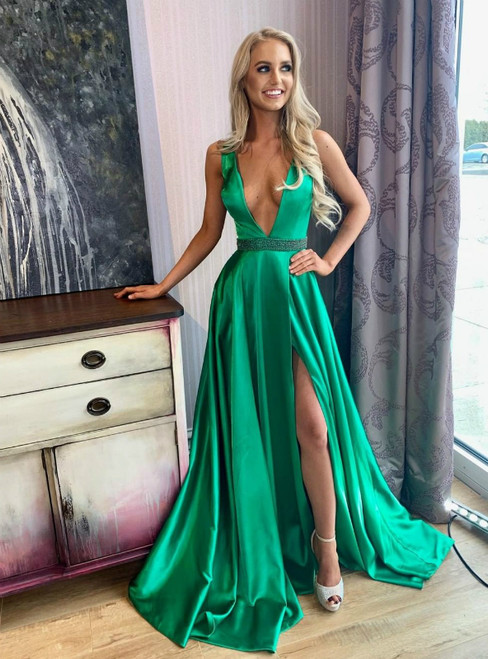 Sexy Deep V-neck Green Satin Long Prom Dres With Side Split