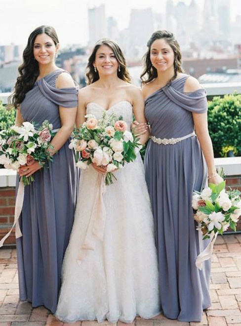 Gray One Shoulder Sleeveless Ruffles Chiffon Bridesmaid Dresses