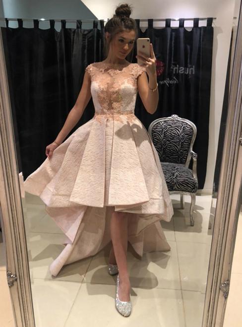 A-Line Hi Lo Pink Lace Appliques Cap SLeeve Prom Dress