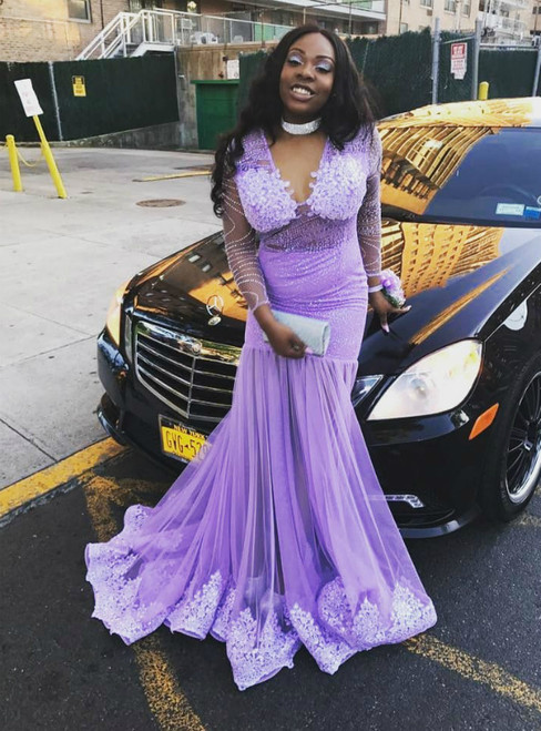 Lilac Mermaid Tulle Long Sleeve Deep V-neck Appliques Sequins Prom Dress
