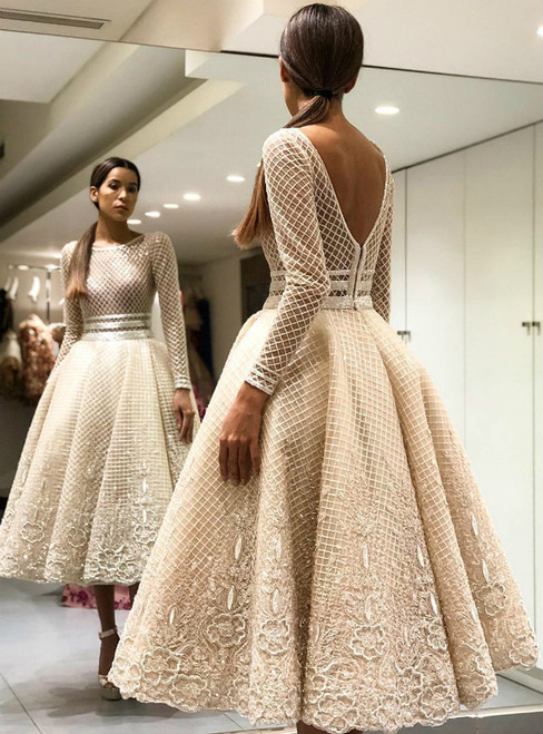 Ball Gown Tea-Length Long Sleeve Appliques White Scoop Tulle Prom Dress