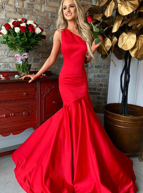 Sexy Red Mermaid Satin One Shoulder Long Prom Dress