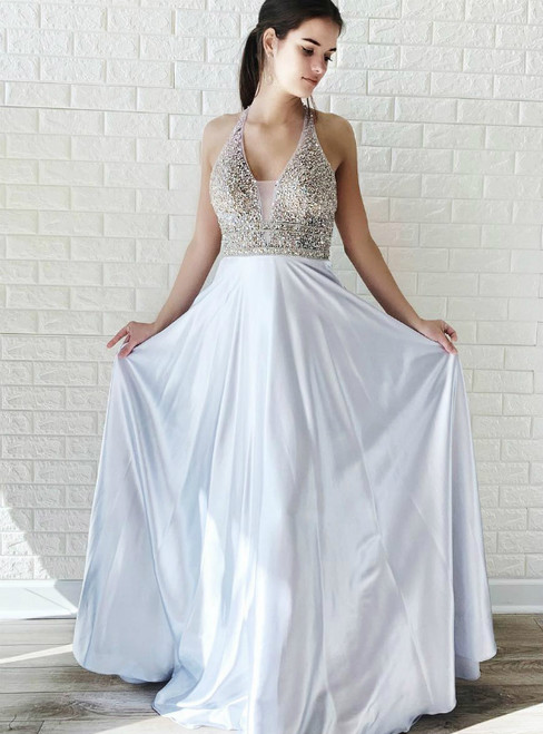 A-Line Silver Satin V-neck Backless Prom Dress With Beading