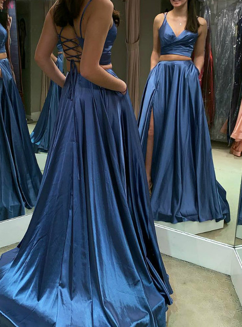 A-Line Blue Two Piece Satin V-neck Prom Dress With Pocket