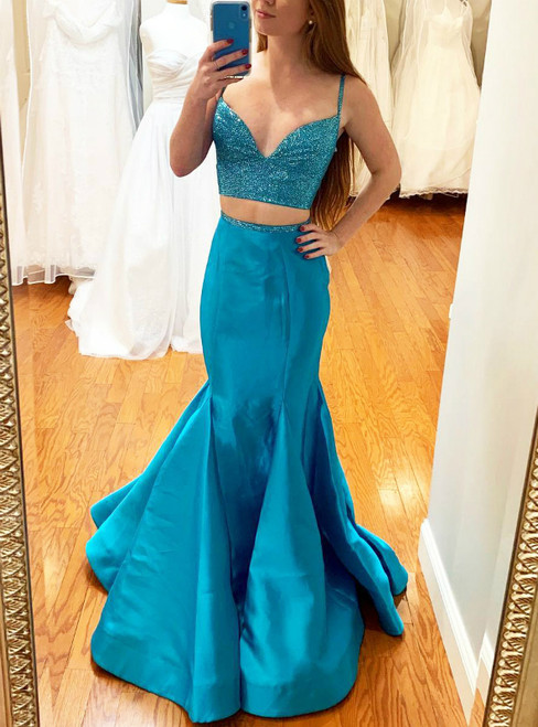 Blue Mermaid Two Piece Satin Spaghetti Straps Prom Dress