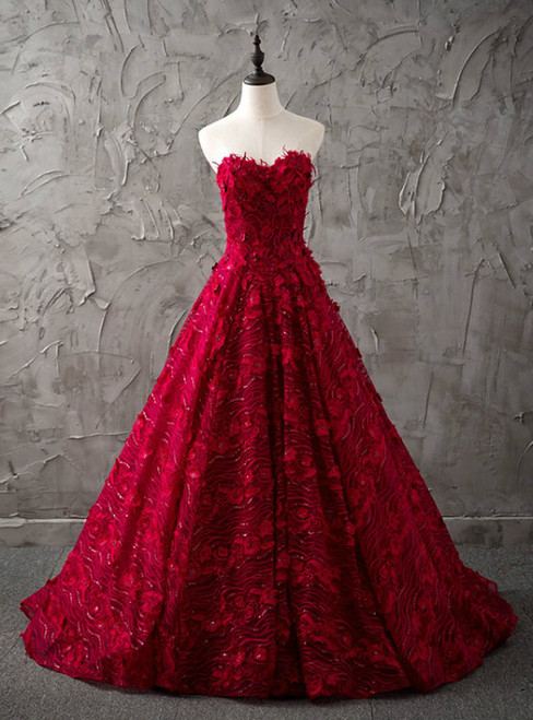Burgundy Sweetheart Ball Gown Lace Up Wedding Dress