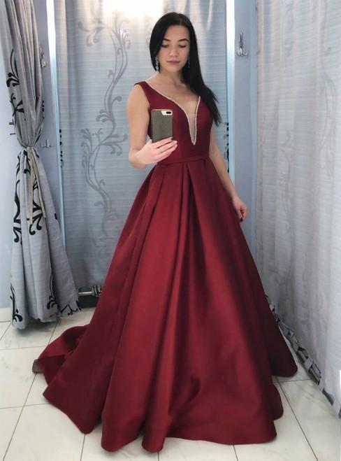 Burgundy Satin Deep V-neck Backless Long Prom Dress