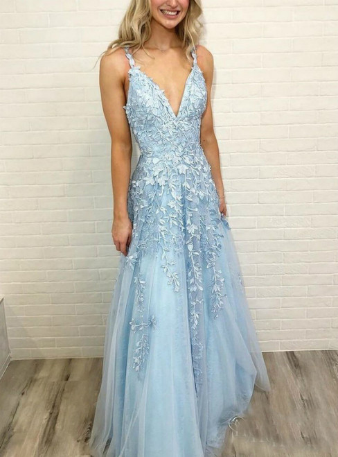 Sky Blue Straps Lace Sleeveless Floor Length V Neck Tulle Prom Dress