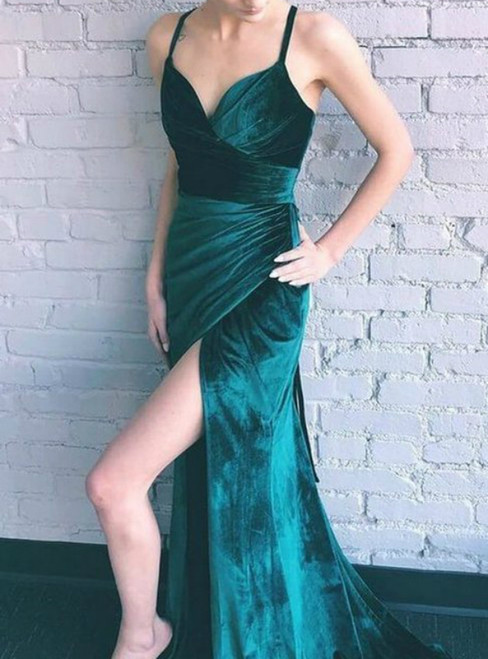 Green Velvet Spaghetti Straps Pleats Prom Dress With Side Split