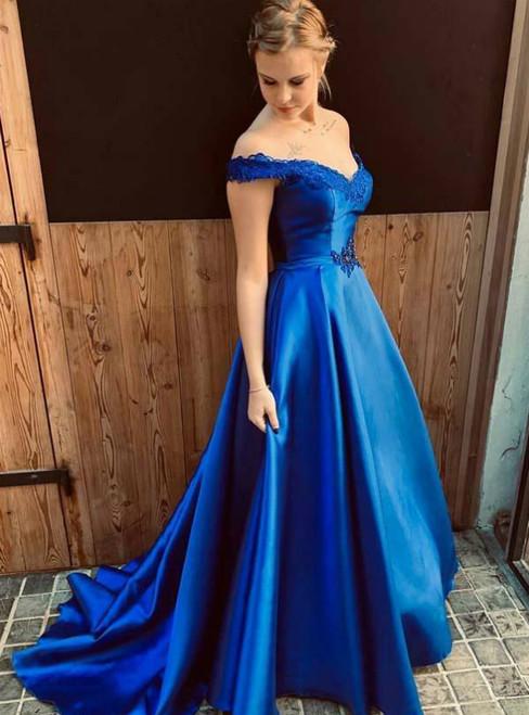 Royal Blue Satin Off the Shoulder Appliques Prom Dress With Sash