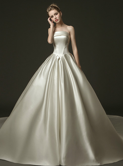 Ivory White Ball Gown Satin Strapless Wedding Dress With Train