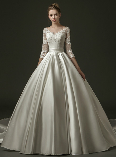 White Ball Gown Satin V-neck 3/4 Sleeve Appliques Wedding Dress