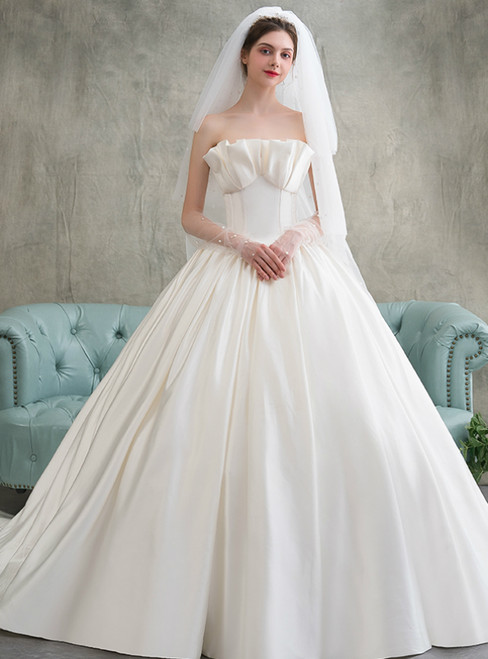 Simple White Ball Gown Satin Strapless Pleats Wedding Dress