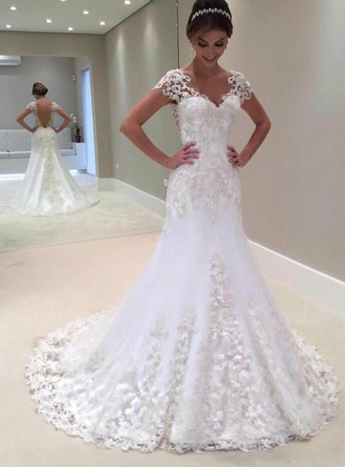 Cheap wedding dresses 2017 short sleeves wedding dress vintage wedding gowns