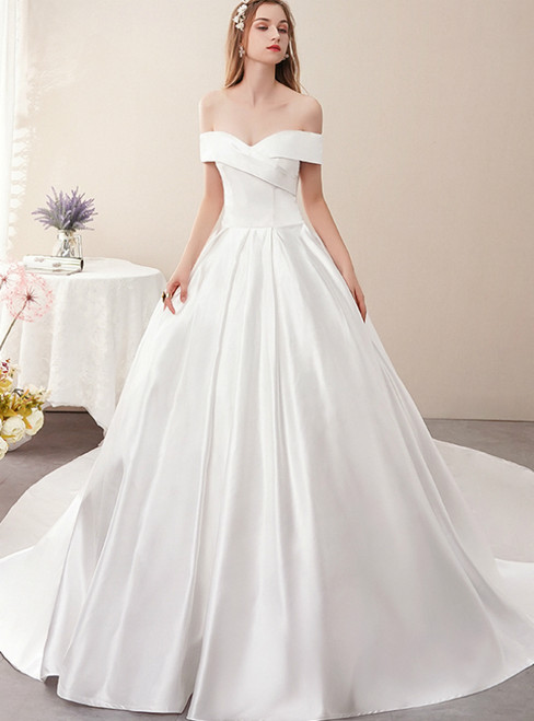 White Ball Gown Satin Off the Shoulder Pleats Wedding Dress With Train