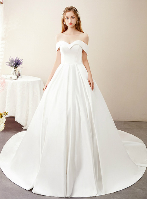 White Ball Gown Satin Off the Shoulder Sleeve Wedding Dress