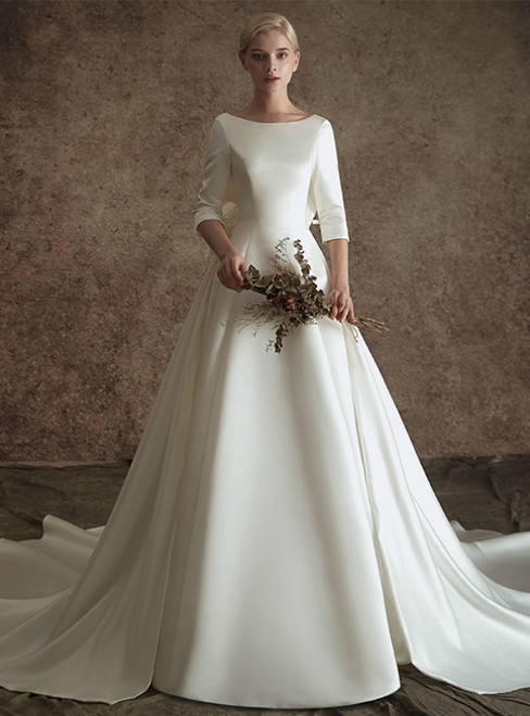 White Ball Gown Satin Short Sleeve Backless Wedding Dress With Bow