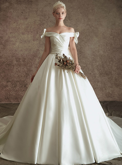White Ball Gown Satin Off the Shoulder Wedding Dress With Bow