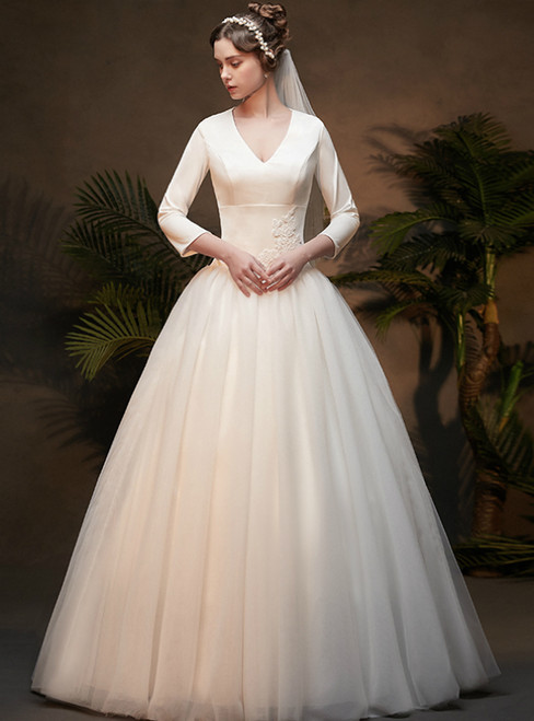 White Ball Gown Satin V-neck Long Sleeve Floor length Wedding Dress